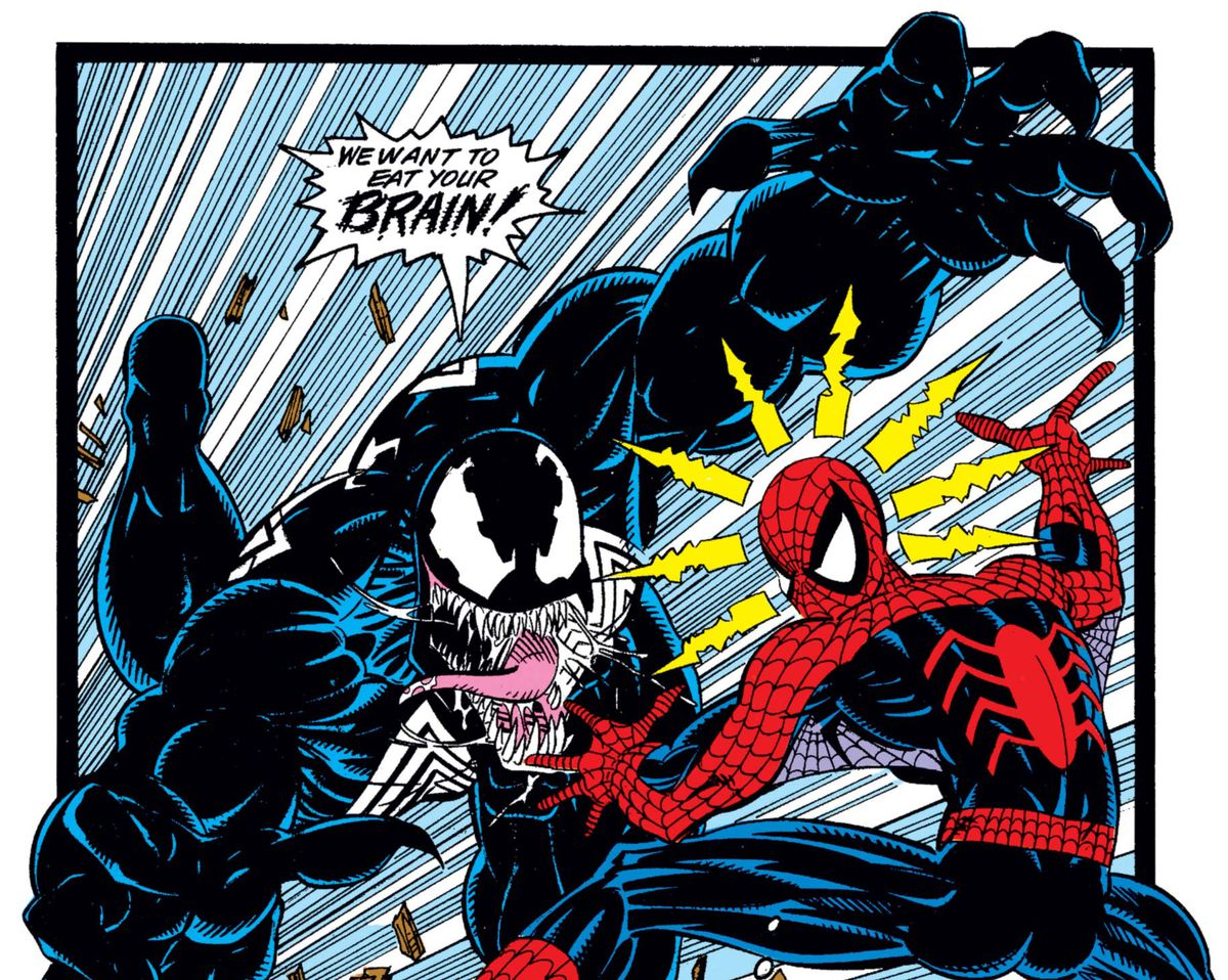 Venom attacks spider-man and wants to eat his brain