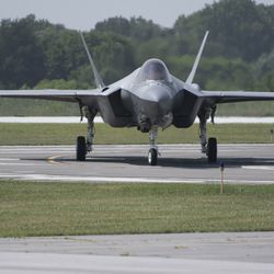 A pair of F-35 Lightning jets land at Gary Airport.   Colin Boyle/Sun-Times