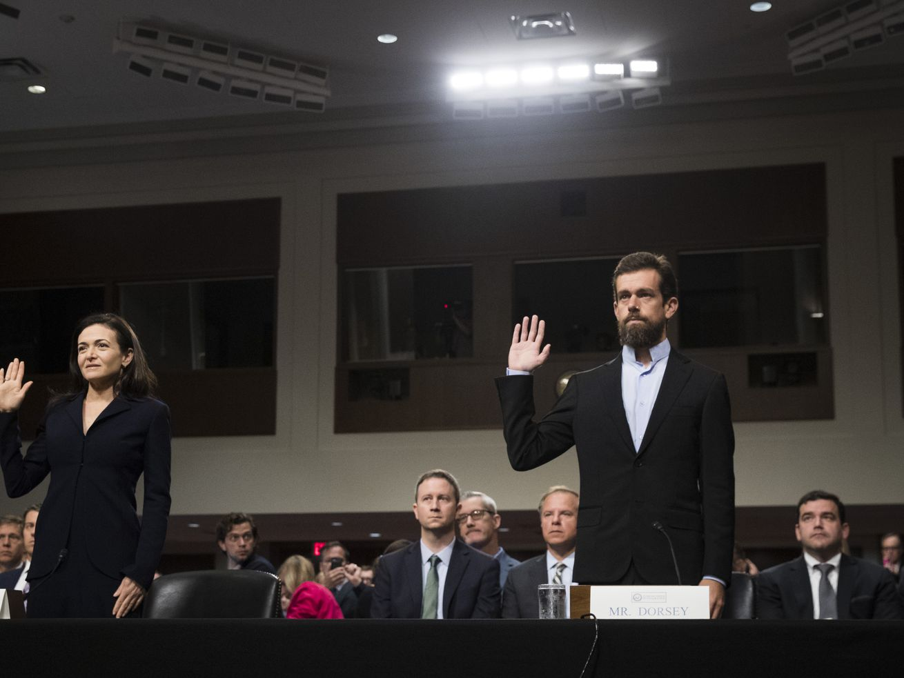 Facebook chief operating officer Sheryl Sandberg and Twitter chief executive officer Jack Dorsey at a hearing on September 5, 2018, in Washington, DC.