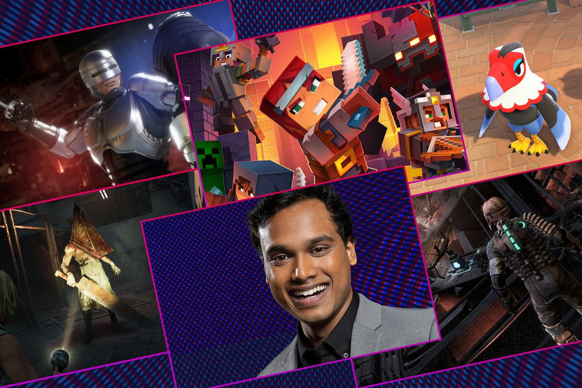 Graphic grid featuring five different video games and a portrait of Speedrun host Jimmy Mondal