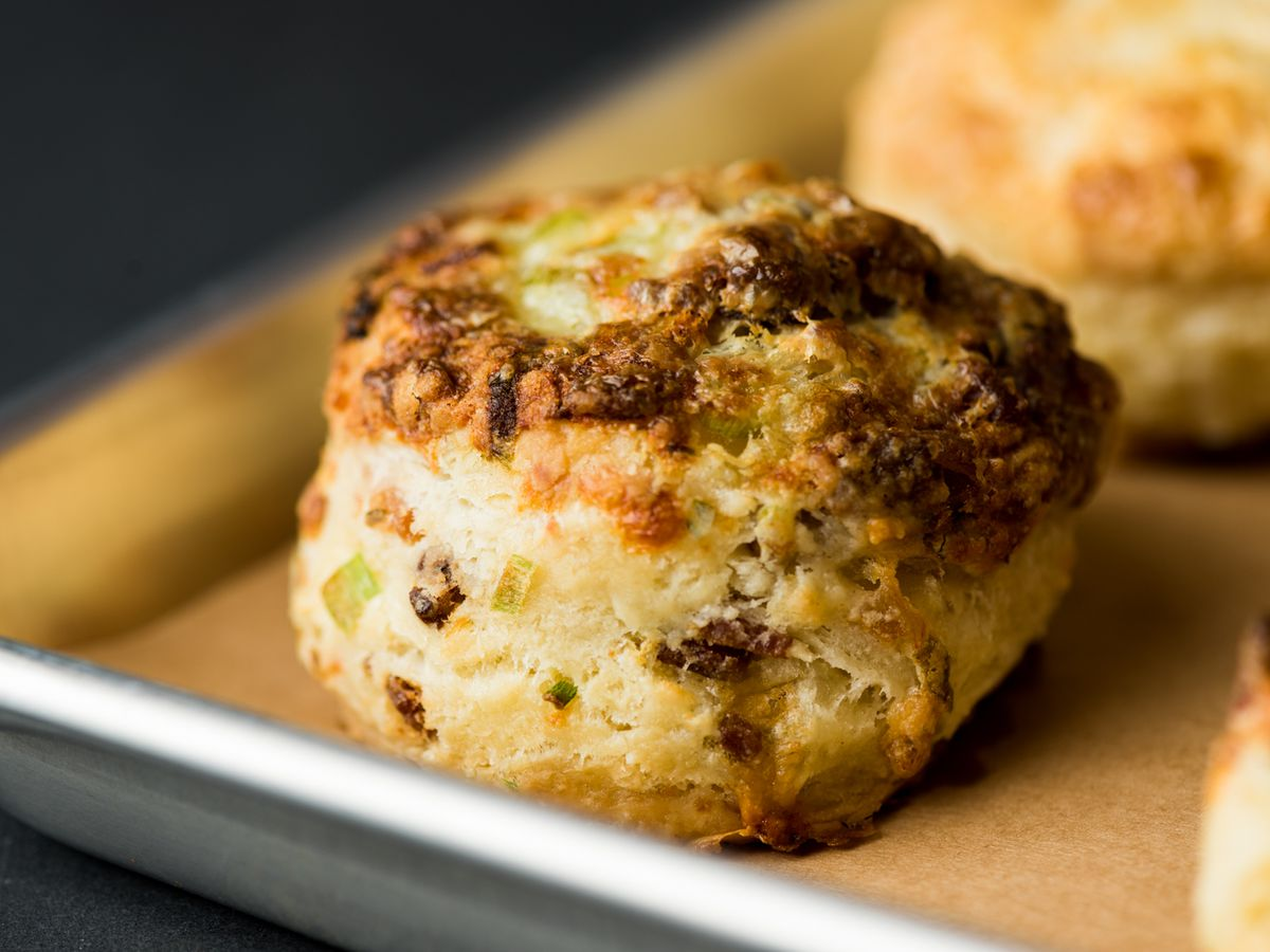 Bacon, cheddar, and scallion biscuits from Brown Sugar Kitchen