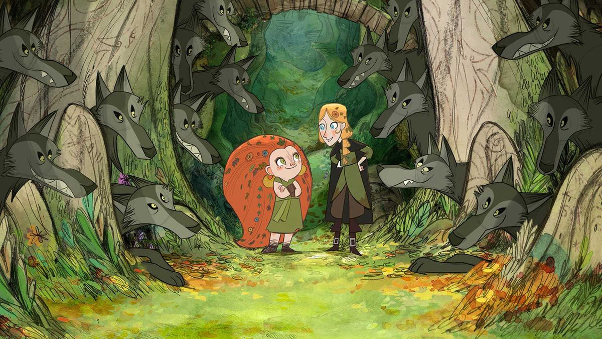 Two cartoon girls, one with fiery red hair and one with blonde braids, stand in the middle of a lush green forest, surrounded by friendly wolves.