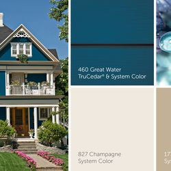 """A classic """"Painted Lady"""" gets dressed in deep watery blue TruCedar siding with soft trim accents."""