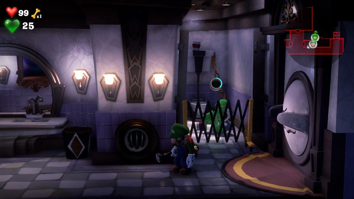 Gooigi pulls on a toilet Luigi's Mansion 3 4F RESTROOM [BLUE GEM]