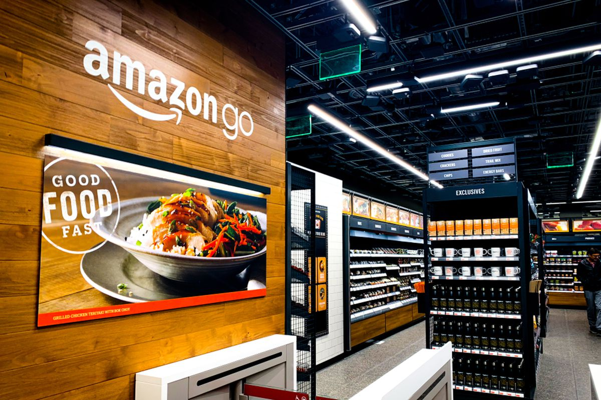 Interior of the Amazon Go store in SF, with food cases visible nearby.