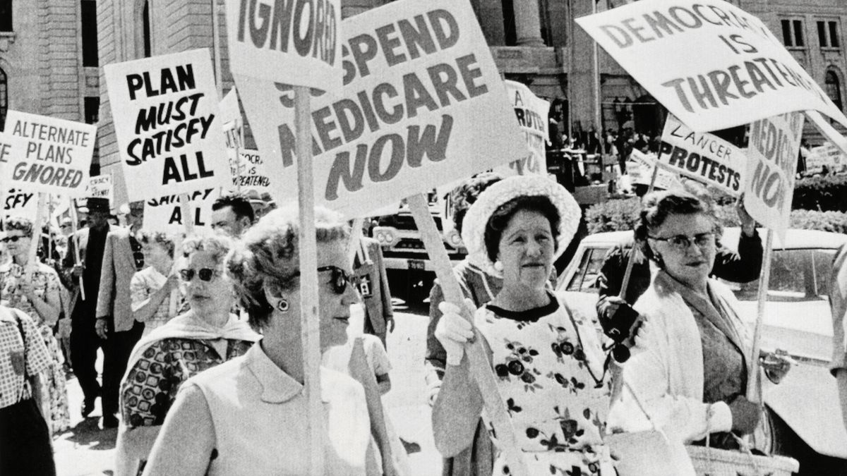 0f783b32a6a Thousands of anti-government protestors rallied against Medicare in Regina,  Saskatchewan, on July 11, 1962, in Canada. Bettmann Archive/Getty Images