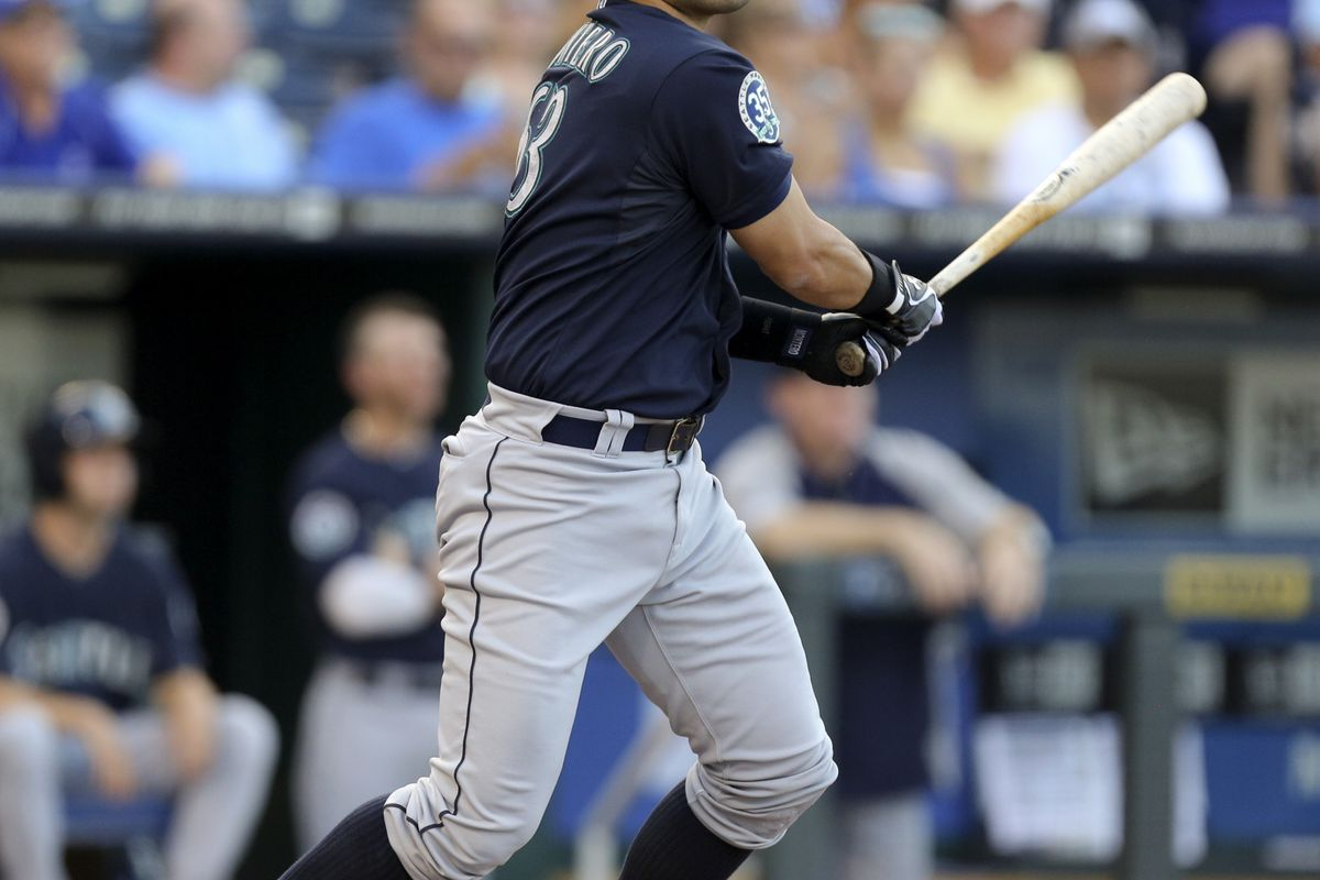KANSAS CITY, MO - JULY 17: Jesus Montero #63 of the Seattle Mariners hits a RBI double against the Kansas City Royals in the first inning at Kauffman Stadium on July 17, 2012 in Kansas City, Missouri. (Photo by Ed Zurga/Getty Images)