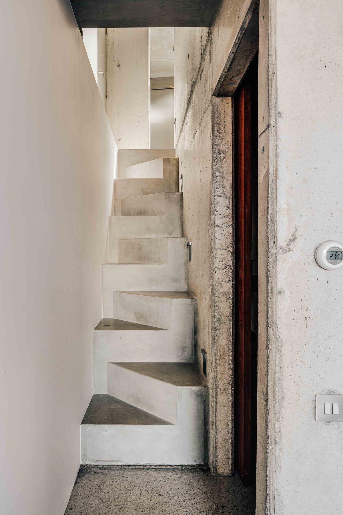 Zig zag concrete staircase