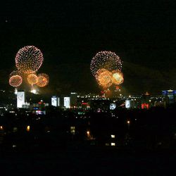 Fireworks light up the sky over Salt Lake City at the close of the 2002 Winter Gmaes on Feb. 24, 2002.