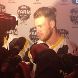 Kyle Rudolph addressing the media after Farm Bowl.