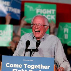 """""""You have no place to go but up,"""" Vermont Sen. Bernie Sander jokes, noting Utah's entire congressional delegation, governor and legislative majority are all Republicans, during the """"Come Together and Fight Back"""" tour at the Rail Event Center in Salt Lake City on Friday, April 21, 2017. The tour is part of the process of creating a Democratic Party that is strong and active in all 50 states, and a party that focuses on grass-roots activism and the needs of working families."""