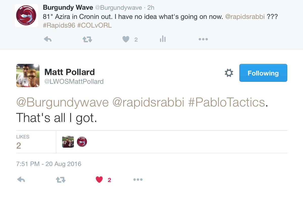 Tweet about #PabloTactics
