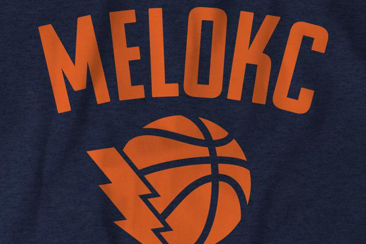 best service 2de47 9a4bd Get your Carmelo Anthony Thunder 'MELOKC' T-shirt - Welcome ...