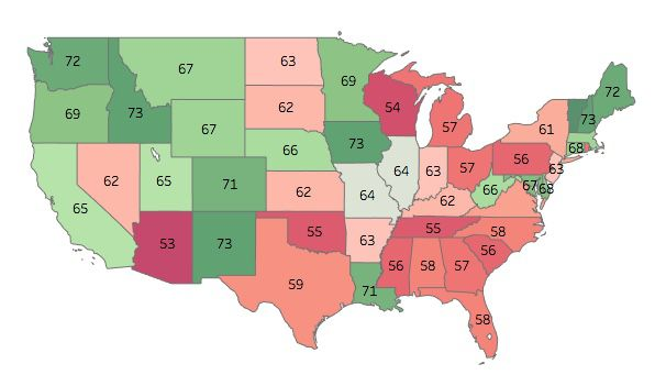 Electoral Integrity In All US States Ranked By Experts Vox - Map of the 50 us states