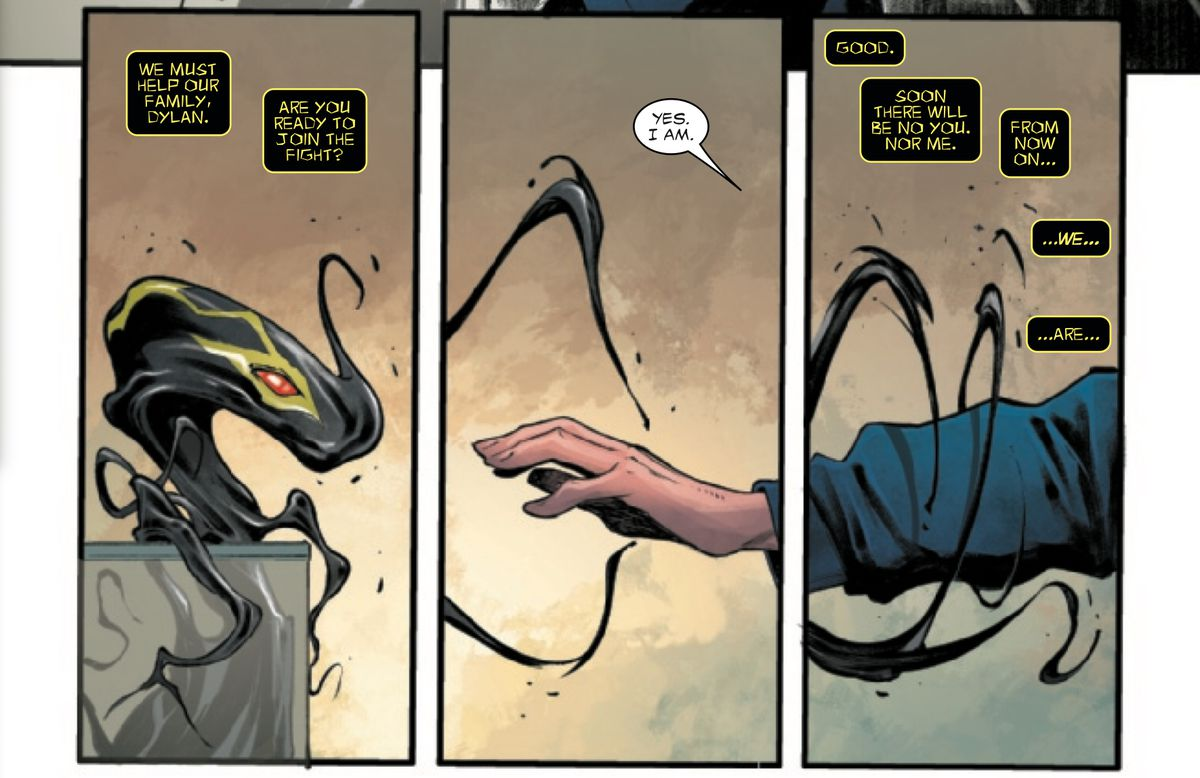 Dylan Brock reaches out for the symbiote Sleeper, to merge with it, in Venom #19, Marvel Comics (2019).
