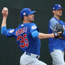 Cole Hamels throws a pitch during a bullpen session at the Under Armour Performance Center, the Spring Training home of the Chicago Cubs in Mesa, AZ.  | John Antonoff/For the Sun-Times