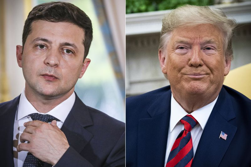 A side-by-side picture of Ukraine's President Volodymyr Zelensky and President Trump.