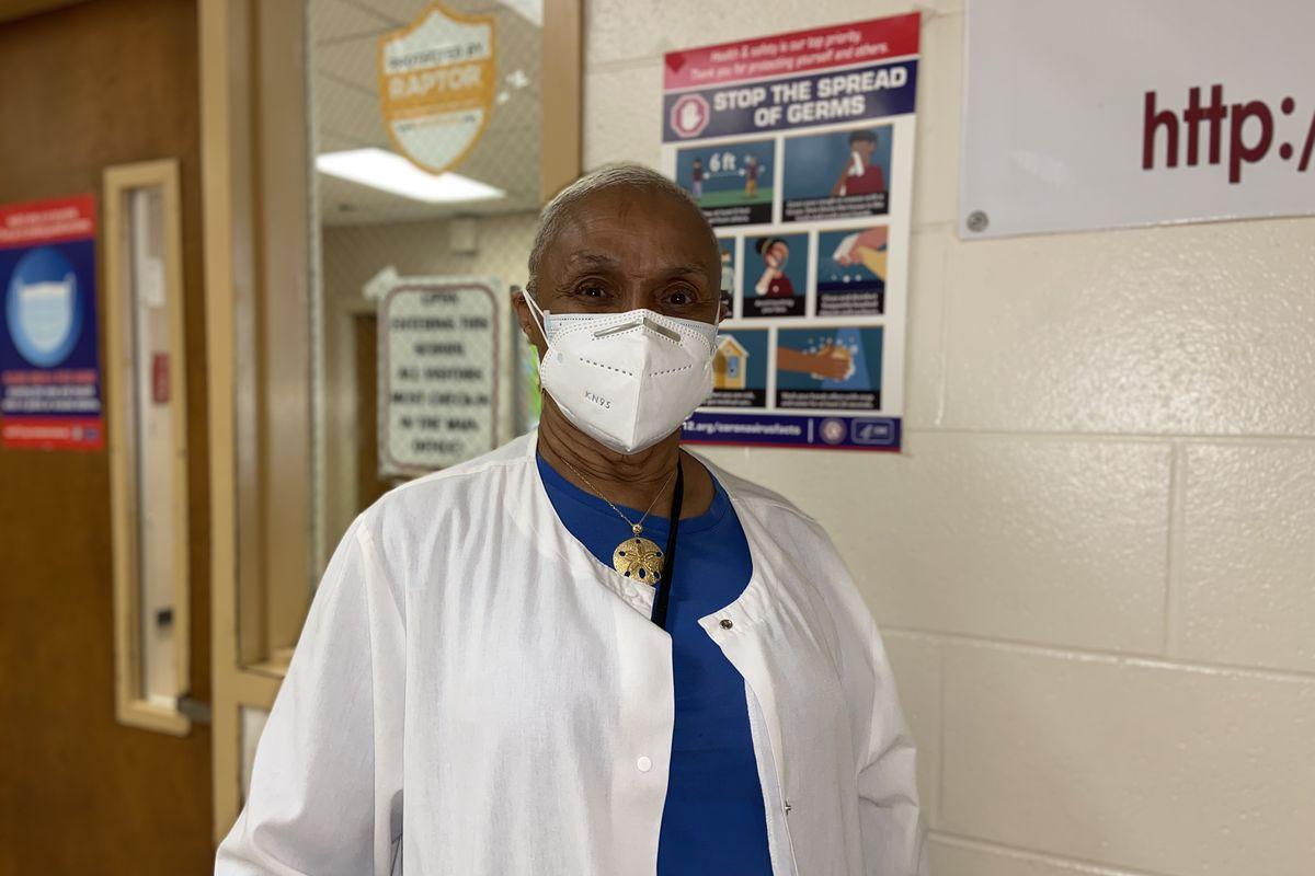 Nurse Karen Taylor poses for a photo at Cummings K-8 Optional School.