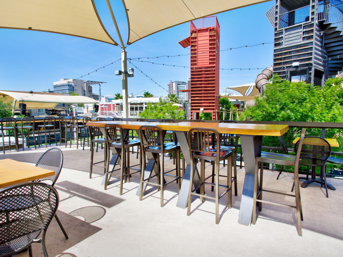 The rooftop patio at Oak & Ivy
