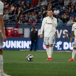 FOXBOROUGH, MA - MAY 25: D.C. United forward Wayne Rooney #9 prepares to take a set piece during the second half at Gillette Stadium on May 25, 2019 in Foxborough, Massachusetts. (Photo by J. Alexander Dolan - The Bent Musket)