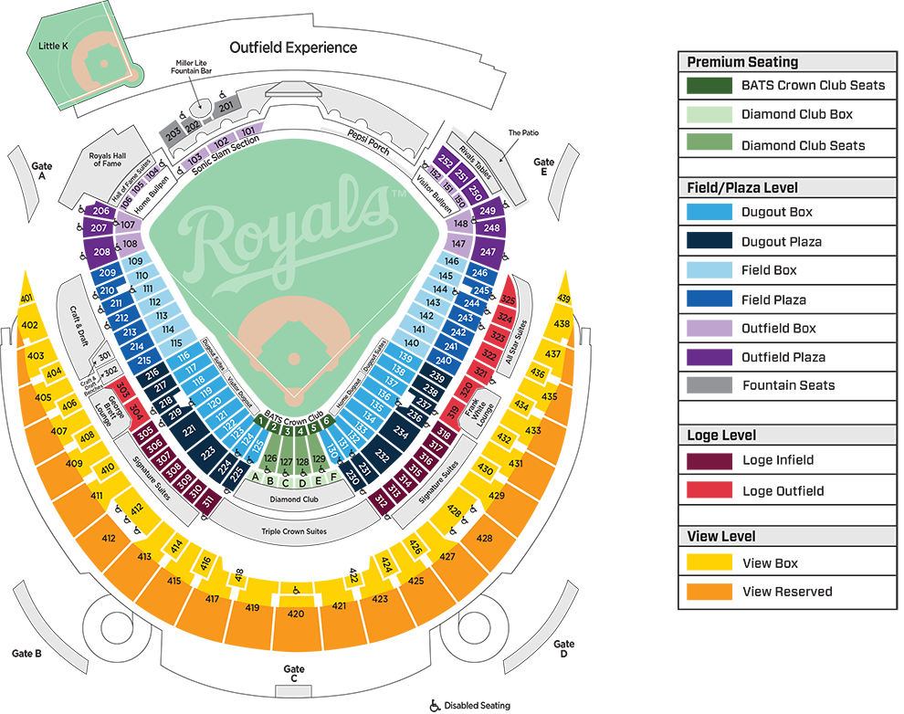 The Royals Review 2017 Royals ticket guide - Royals Review on gila river arena map, spring mobile ballpark map, santa clara convention center map, royals seat map, starlight theatre map, u.s. cellular field map, o.co coliseum map, talking stick resort arena map, marlins ballpark map, pnc arena map, kauffman seating, truman sports complex map, dr pepper ballpark map, allen fieldhouse map, coors field map, kc royals seating map, braves field map, bramlage coliseum map, citizens bank park map, sports authority field at mile high map,