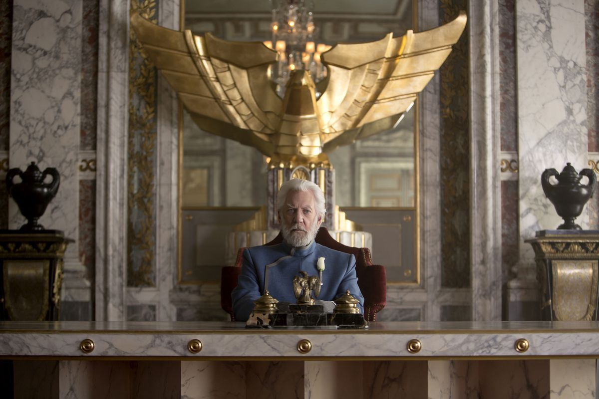 """Donald Sutherland stars as President Snow in """"The Hunger Games: Mockingjay – Part 1."""""""