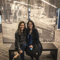Ji Suk Yi with National Hellenic Museum Executive Director Laura Calamos.   Brian Rich/ Sun-Times