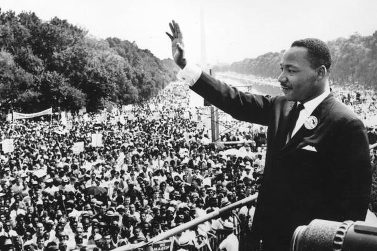 Dr. Martin Luther King Jr. addressing the crowd at the Lincoln Memorial for the March on Washington in 1965.