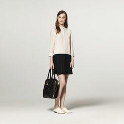 Drop Dress in White/Black, $44.99; Tote in Black, $54.99