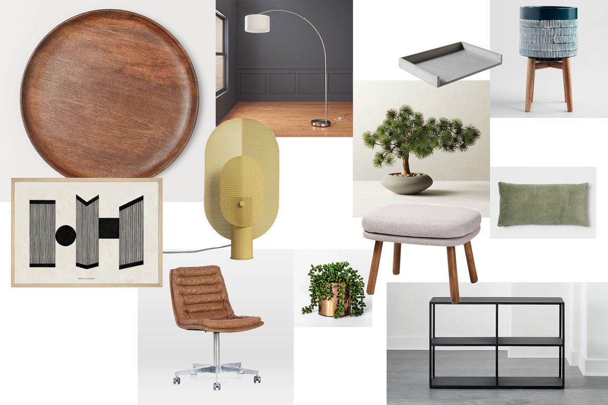 A collection of office furniture with wooden textures and gray coloring, including a desk tray, standing lamp, and foot stool.