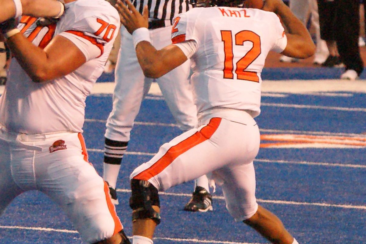 Ryan Katz moves from being an inexperienced quarterback in 2010 to a seasoned veteran for Oregon St. in 2011.  <em>(Photo by Andy Wooldridge)</em>
