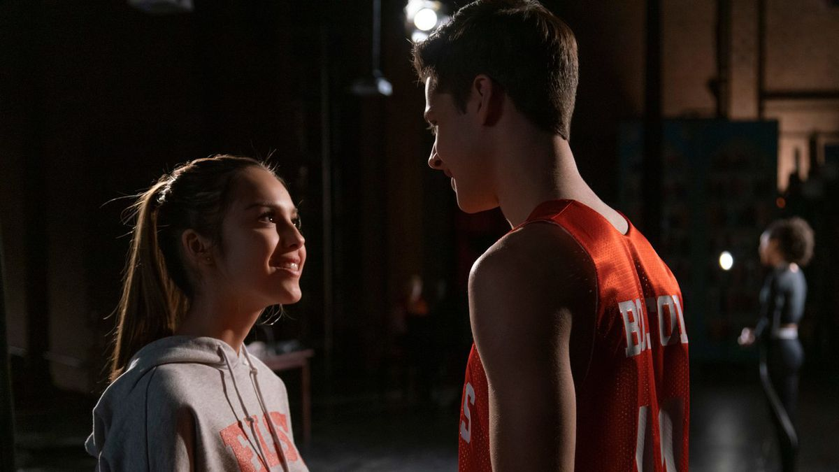 two teens in high school musical the musical the series. romantic tension is high.
