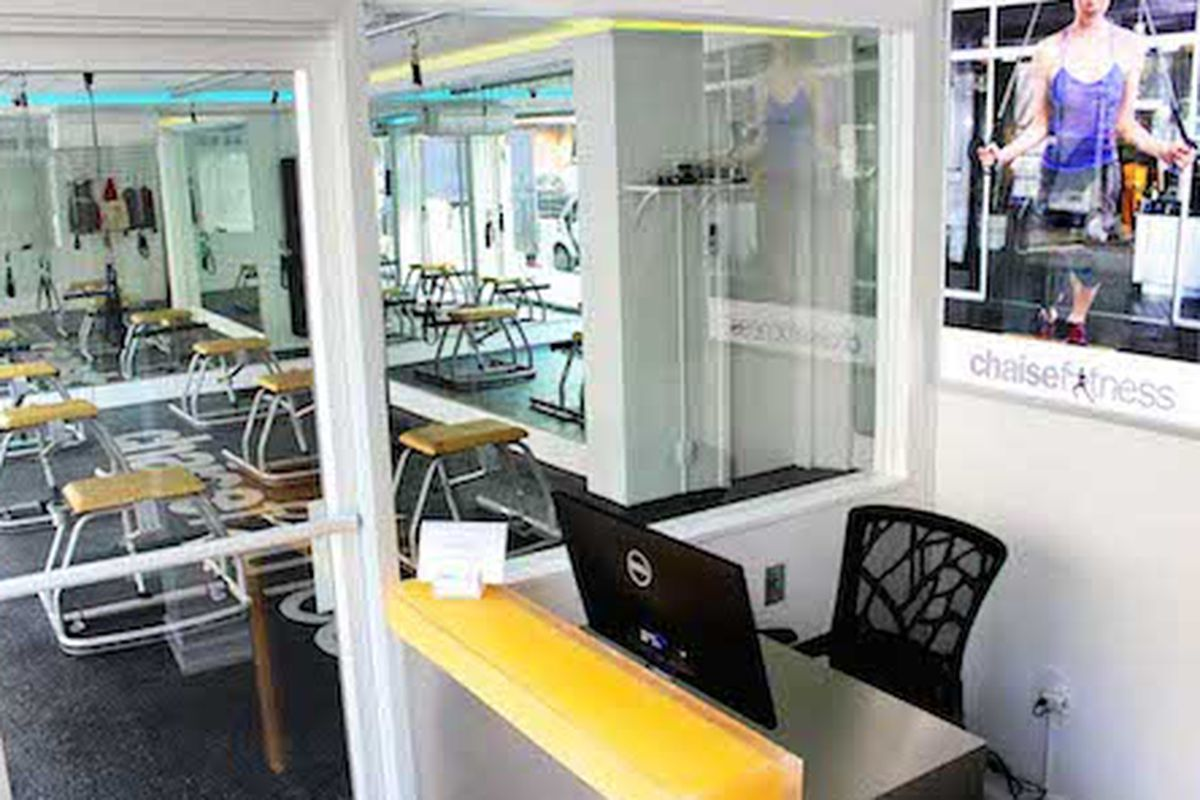 """Inside the new studio; Image via <a href=""""http://www.wellandgoodnyc.com/2014/05/14/chaisefitness-expands-its-workout-chair-empire/"""">Well &amp; Good</a>"""