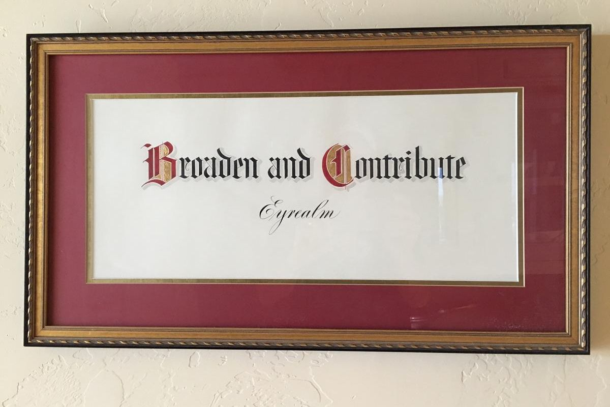 """""""Broaden and contribute"""" is the Eyres' family vision statement."""