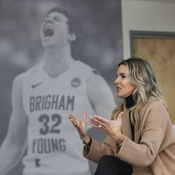Lee Anne Pope, wife of BYU basketball coach Mark Pope, talks about being at BYU in Provo on Wednesday, Feb. 26, 2020.