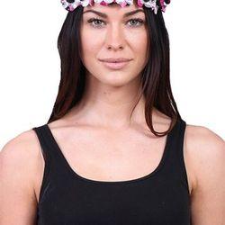 "Black and pink floral crown, <a href=""http://shopblush.com/shop/accessories/BLB02019-pink-black-floral-crown#.Uzz5cK1dVi4"">$24</a>"