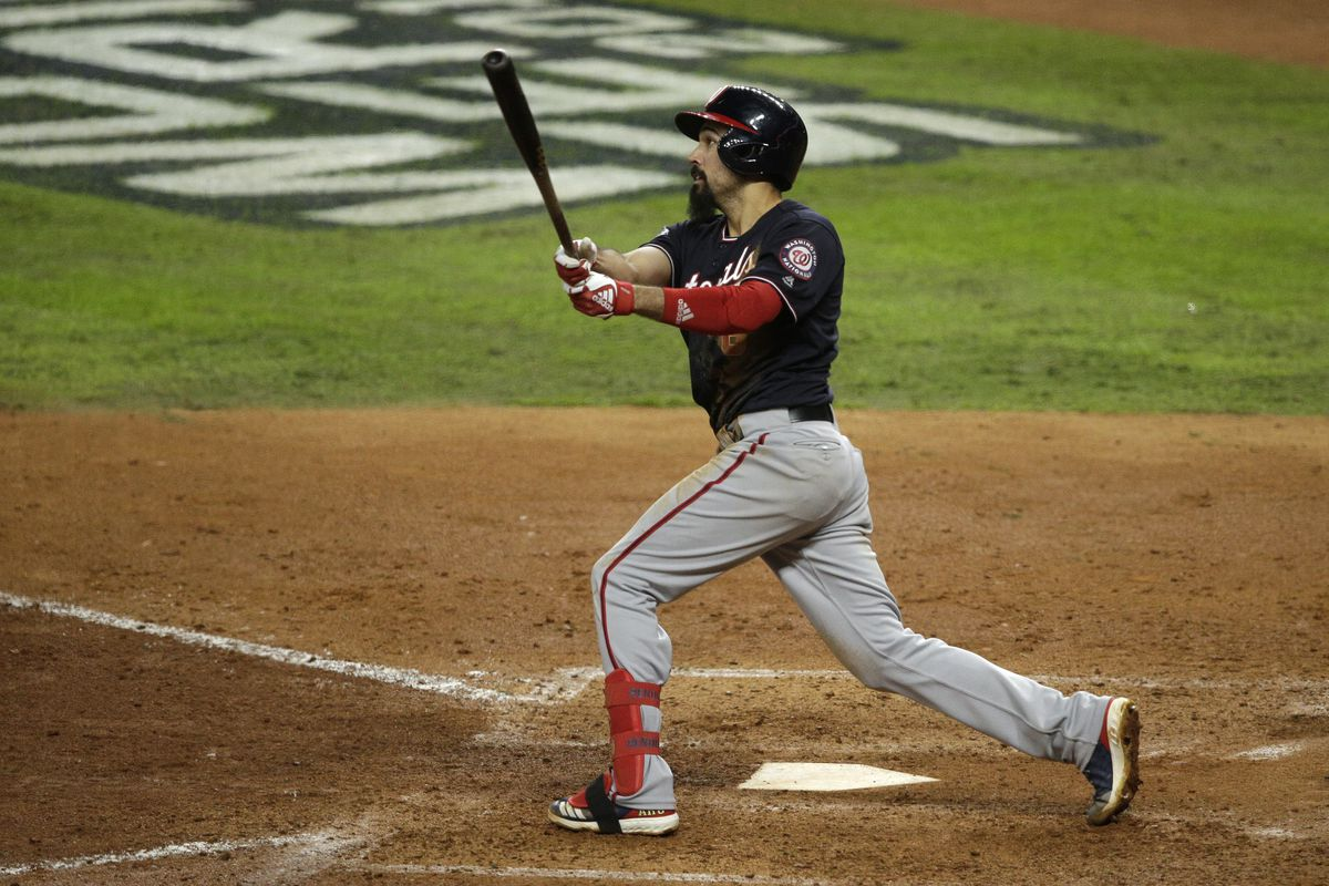 The Nationals' Anthony Rendon hits a solo home run against the Astros in Game 7 of the 2019 World Series.