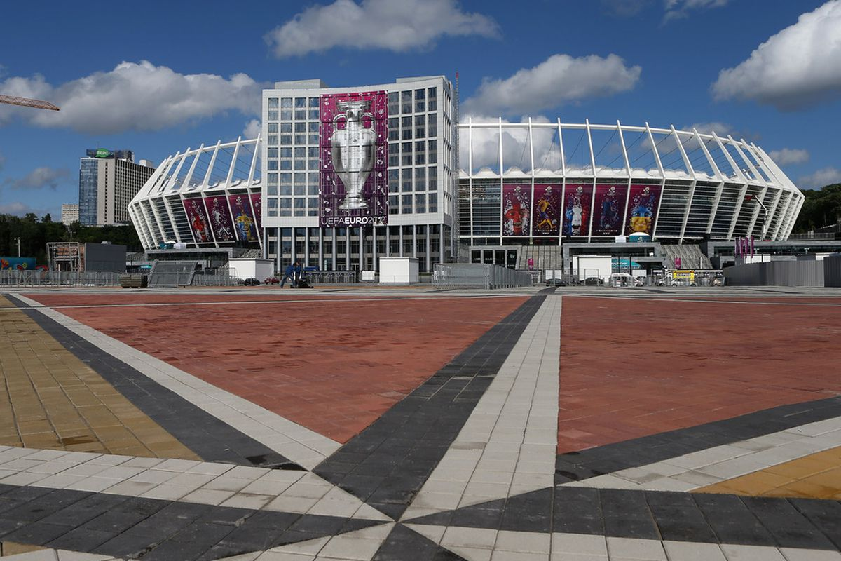 KIEV, UKRAINE - JUNE 07:  A general view outside the Olympic Stadium ahead of the UEFA EURO 2012 tournament which kicks off tomorrow in Poland on June 7, 2012 in Kiev, Ukraine.  (Photo by Julian Finney/Getty Images)