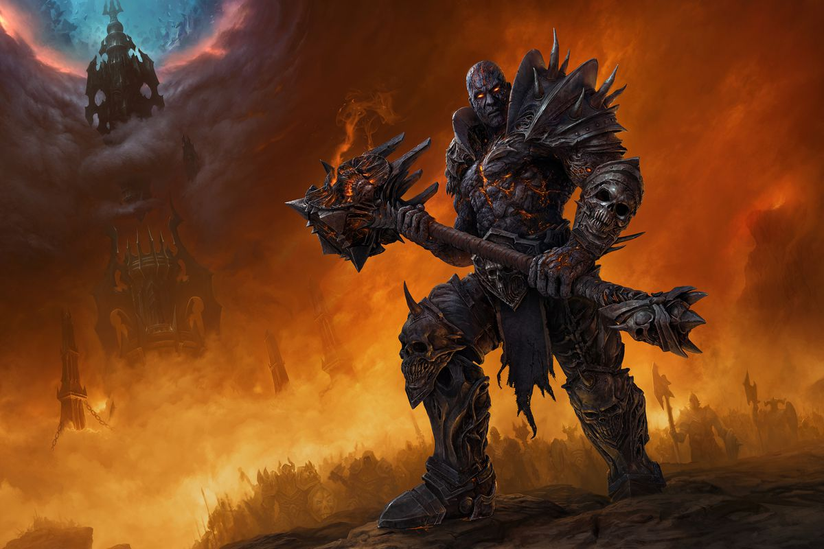 World of Warcraft - Bolvar Fordragon stands outside Torghast, wielding his mace