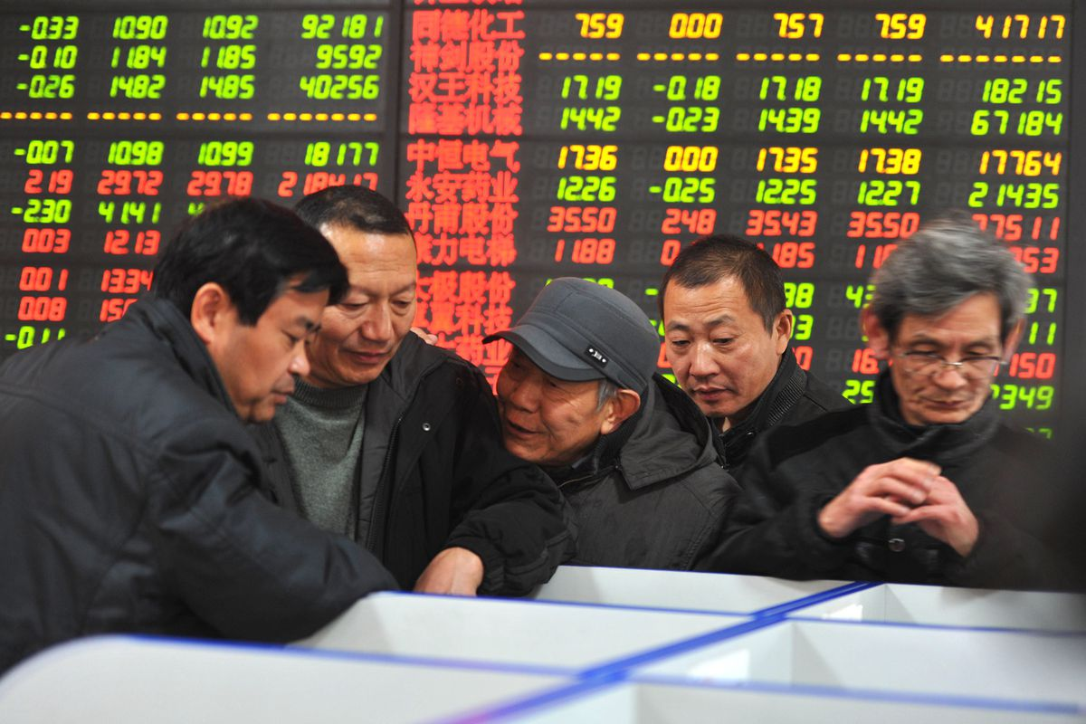 Chinese stock investors gather at a terminal in Fuyang (STR/AFP/Getty)