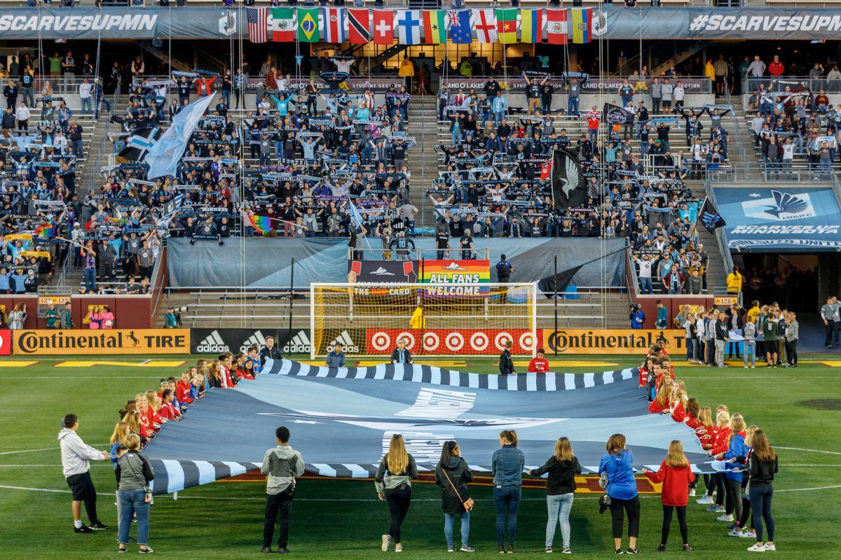 September 22, 2018 - Minneapolis, Minnesota, United States - Pre game activities before the Minnesota United vs Portland Timbers match at TCF Bank Stadium.   (Photo by Seth Steffenhagen/Steffenhagen Photography)