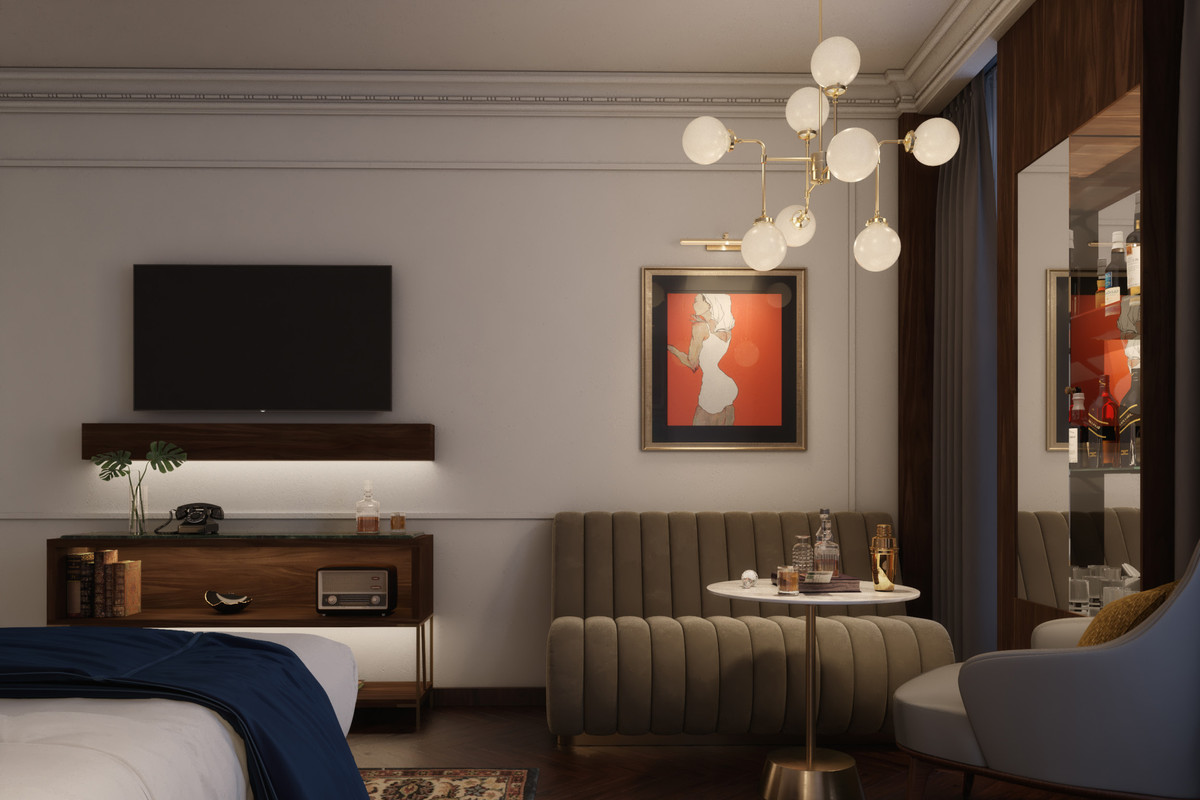 Whiskey Hotel renderings with midcentury design, TV, and leather banquette with whiskey bottle.