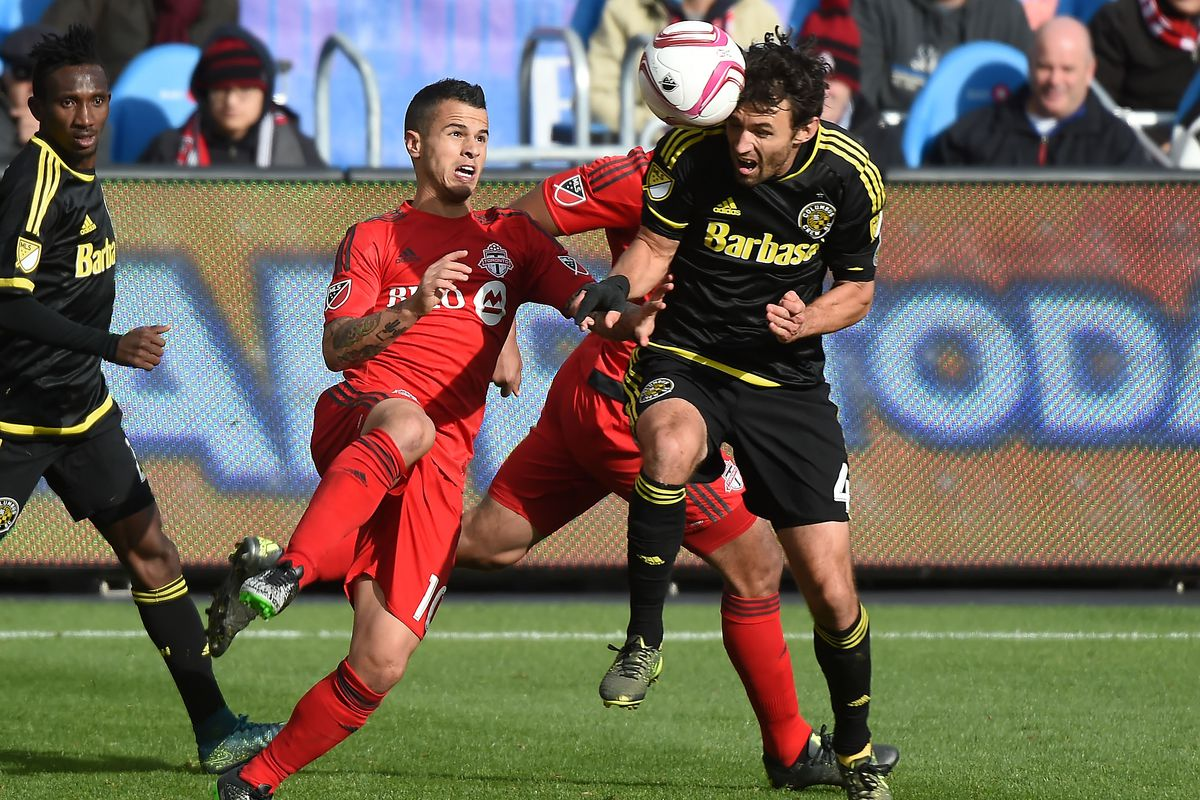 Michael Parkhurst and Columbus will look for road points against Sebastian Giovinco and Toronto on Saturday.