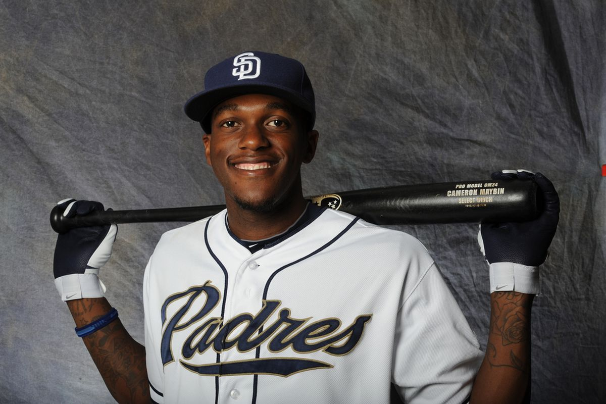 PEORIA, AZ - FEBRUARY 27:  Cameron Maybin #24 of the San Diego Padres poses for a portrait during a photo day at Peoria Stadium on February 27, 2012 in Peoria, Arizona. (Photo by Rich Pilling/Getty Images)
