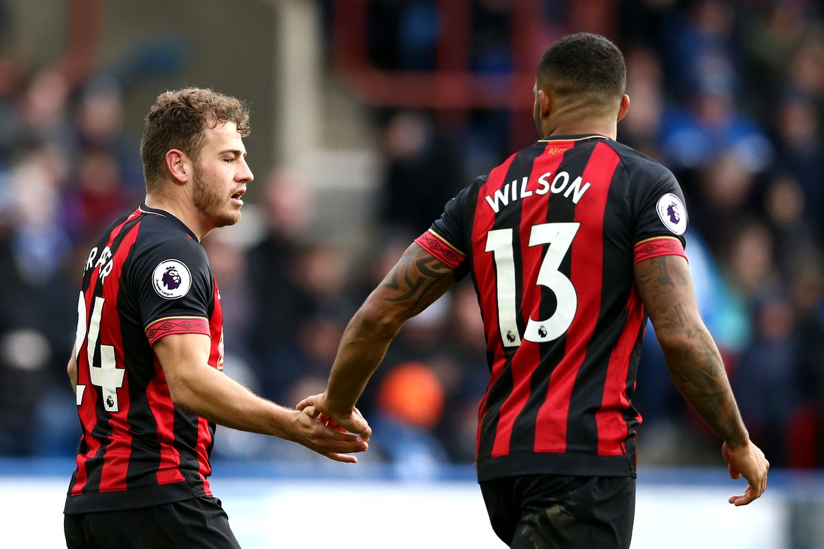 Ryan Fraser celebrates with Callum Wilson - AFC Bournemouth - Premier League
