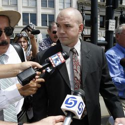 Tim DeChristopher walks to the federal courthouse in Salt Lake City, Tuesday, July 26, 2011.