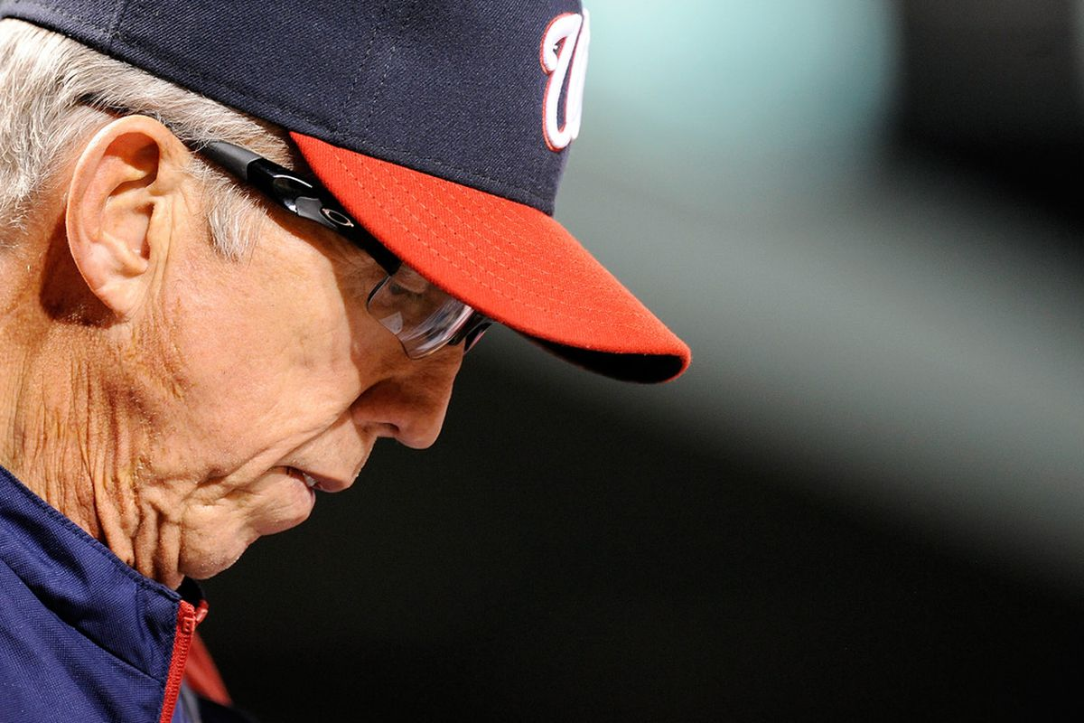 BALTIMORE, MD - JUNE 23:  Washington Nationals manager Davey Johnson looks on during a game against the Baltimore Orioles at Oriole Park at Camden Yards on June 23, 2012 in Baltimore, Maryland.  (Photo by Patrick McDermott/Getty Images)