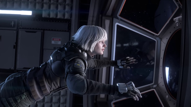 a white-haired woman floating through a spacecraft in Rainbow Six Siege