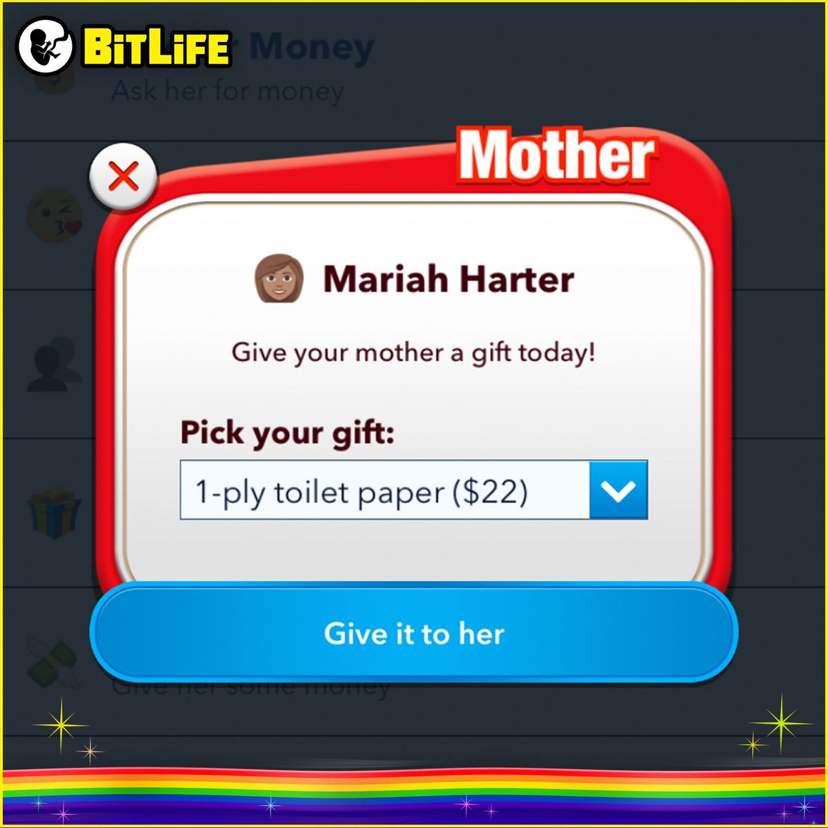 A screenshot from BitLife.