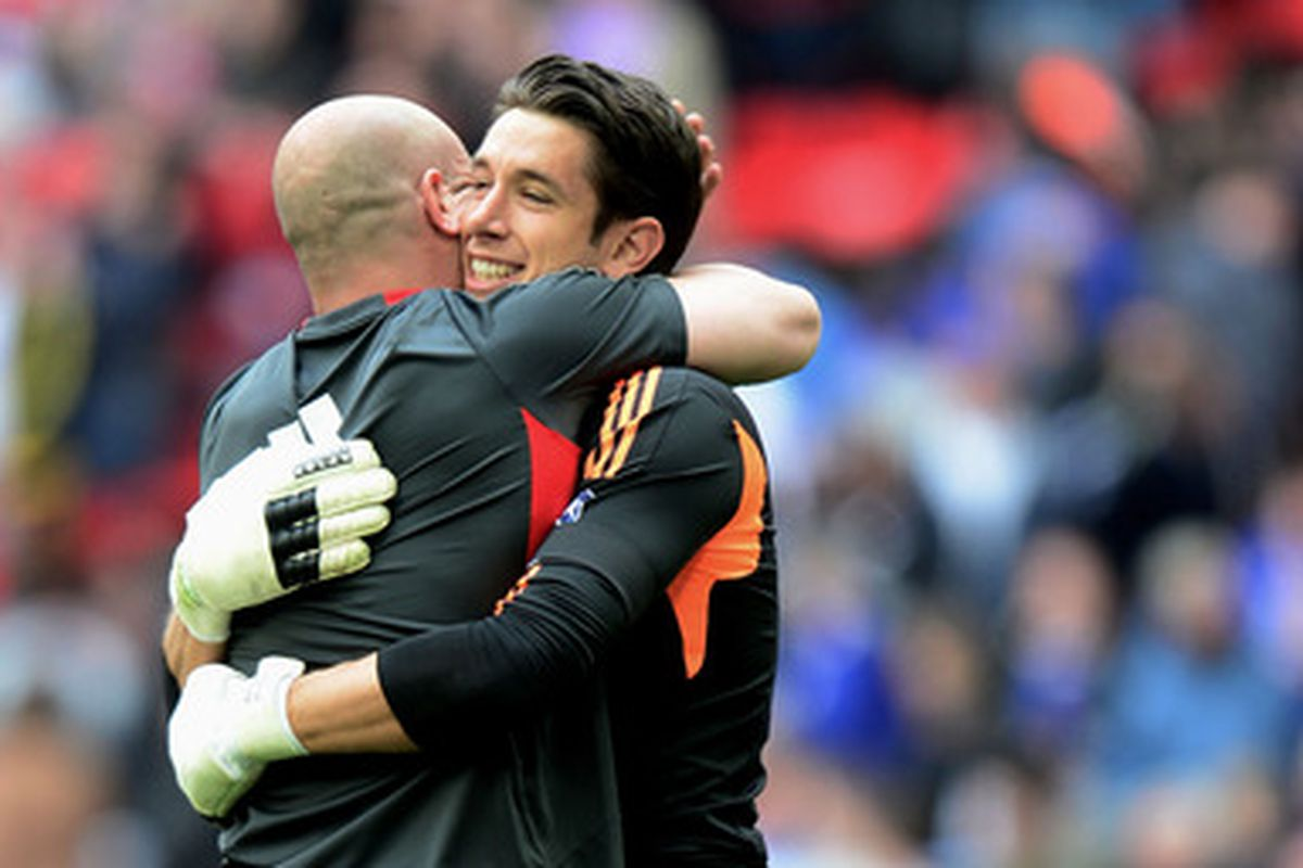 The only photo of Peter Gulacsi on SB Nation does not show his face, so we default to 'keeper hugs instead.